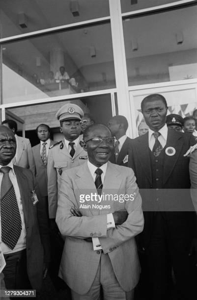 Le président du Sénégal Leopold Senghor lors du sommet de l'O.U.A. : l'Organisation de l'unité africaine, à Freetown en Sierra Leone, 5 juillet 1980.