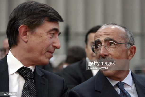 Le président exécutif de la compagnie aérienne ATR Filippo Bagnato et le ministre des Affaires étrangeres français et président du Grand Toulouse...