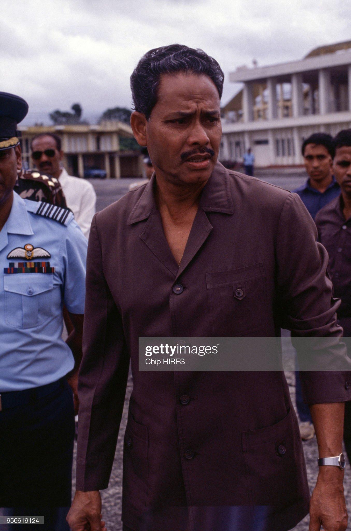 Le président Hussain Muhammad Ershad en septembre 1988 : News Photo