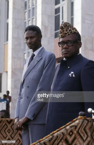 Le président sénégalais Abdou Diouf avec Mobutu Sese Seko le 9 juin 1984 à Kinshasa en République démocratique du Congo
