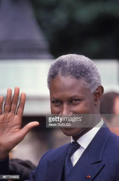 Le président sénégalais Abdou Diouf le 14 juillet 1989 à l'Elysée à Paris France