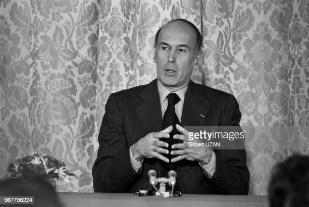 Le président Valéry Giscard d'Estaing donne sa 5ème conférence de presse à l'Elysée le 17 janvier 1977, Paris, France.