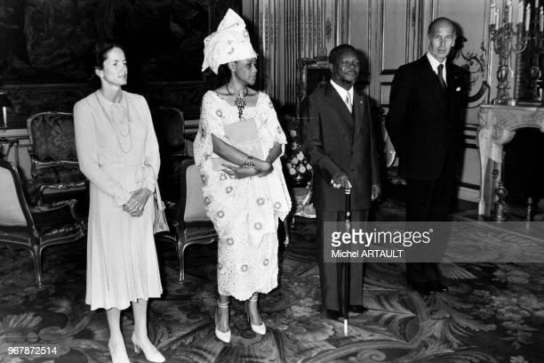 Le président Valéry Giscard d'Estaing et son épouse AnneAymone au palais de l'Elyése avec l'empereur Bokassa de Centrafrique et son épouse Catherine...