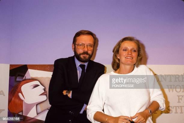 Le réalisateur Krzysztof Zanussi et l'actrice MarieChristine Barrault en août 1985 à Montréal Canada
