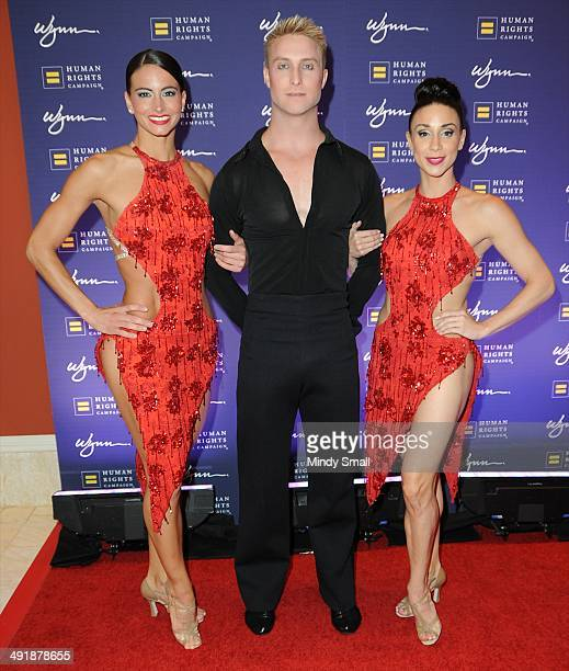 Le Reve cast members, Noelle Nielson, Alex Stabler and Colby Lemmo arrive at the 9th Annual Human Rights Campaign Gala at the Wynn Las Vegas on May...