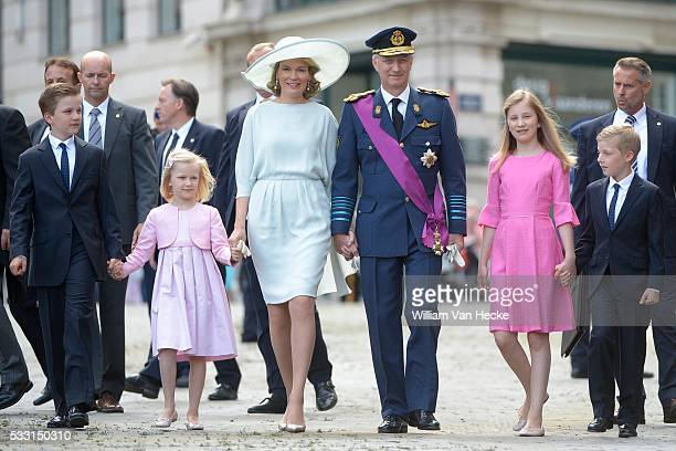 Le Roi et la Reine assistent au Te Deum chanté à l'occasion de la Fête Nationale en la Cathédrale des Saints MicheletGudule à Bruxelles Koning Filkip...