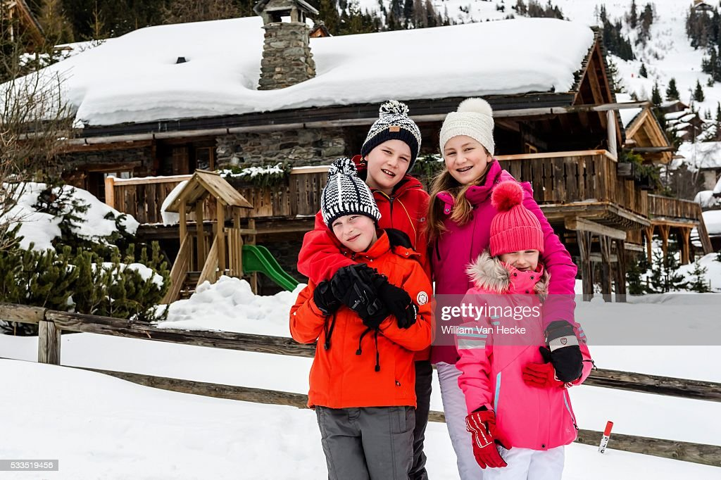 Winter holiday of the Belgian royal family in Verbier : News Photo