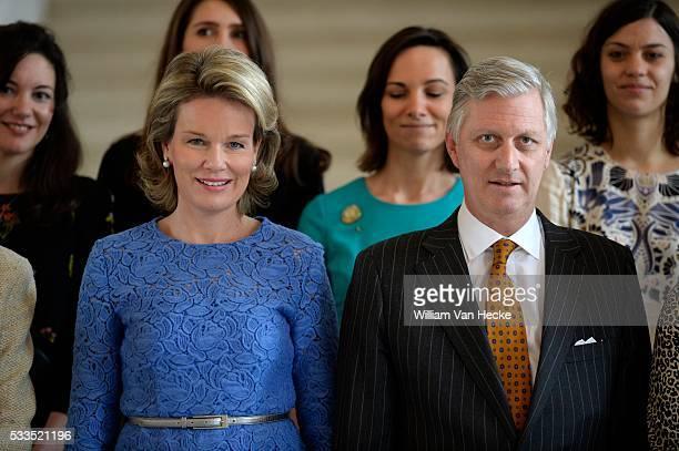 Le Roi et la Reine reçoivent à l'occasion de la Journée Internationale de la Femme des femmes actives à déjeuner au Château de Laeken In het kader...