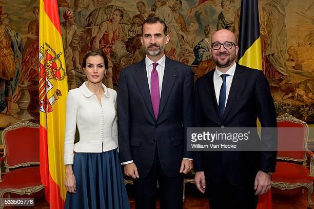 Le Roi Felipe et la Reine Letitia d'Espagne rencontrent le Premier Ministre Charles Michel au Palais d'Egmont à l'occasion de leur visite officielle...