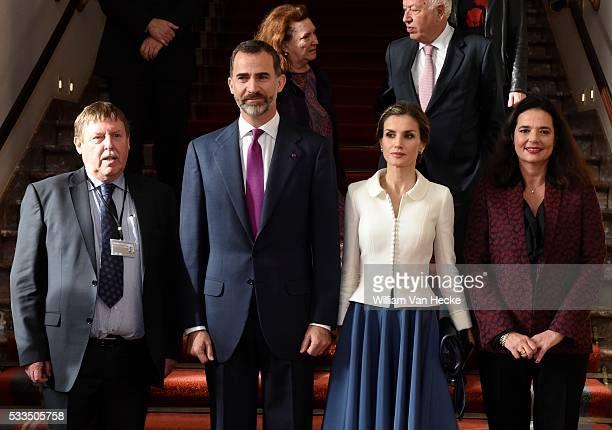 Le Roi Felipe et la Reine Letitia d'Espagne visitent le Parlement fédéral à l'occasion de leur visite officielle en Belgique Officieel bezoek aan...