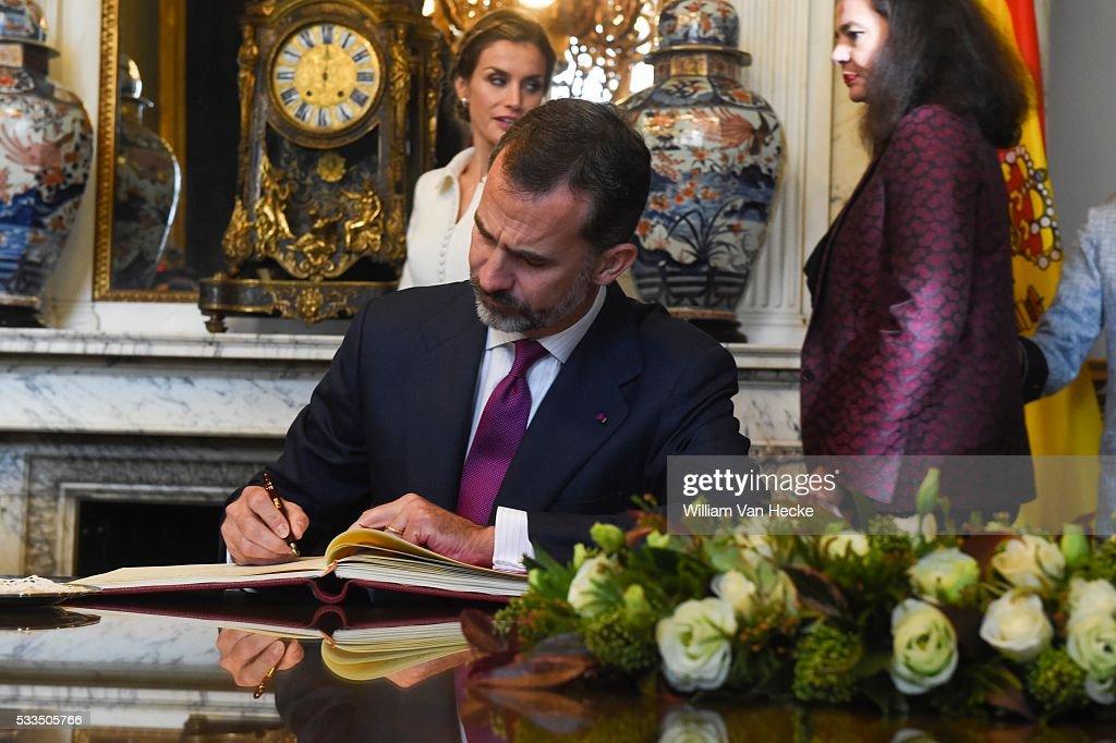 King Felipe of Spain and Queen Letizia / Federal Parliament : News Photo