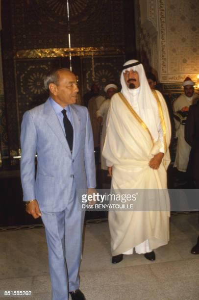 Le roi Hassan II du Maroc et un émir arabe venu pour le 57e anniversaire du monarque au Maroc le 14 juillet 1986