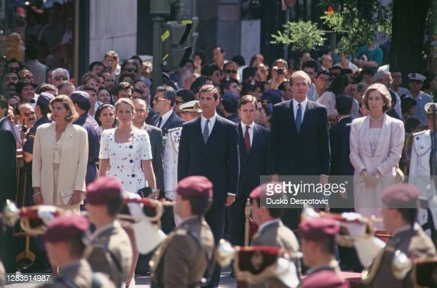 Le Roi Juan Carlos, son épouse la Reine Sophie et leurs enfants, l'infante Cristina, l'infante Elena et l'infant Felipe, assistent à la cérémonie...