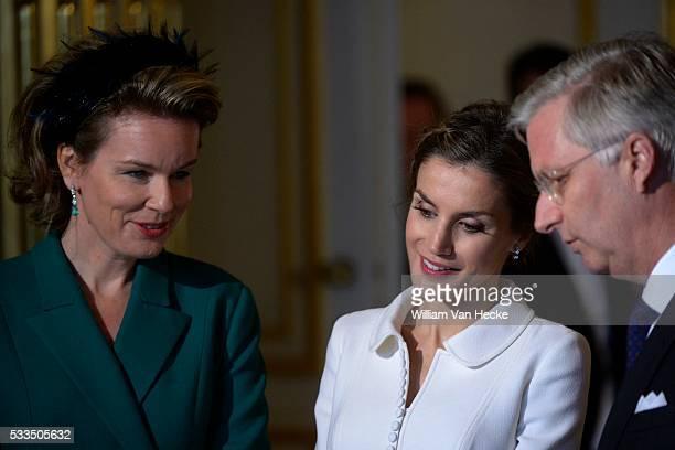 Le Roi Philippe et la Reine Mathilde accueillent le Roi Felipe et la Reine Letitia d'Espagne au Palais de Bruxelles à l'occasion de leur visite...