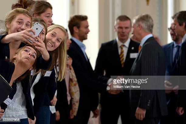 Le Roi Philippe et la Reine Mathilde reçoivent au Château de Laeken des athlètes de haut niveau qui se sont particulièrement distingués en 2013 et...