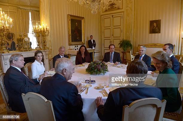 Le Roi Philippe et la Reine Mathilde reçoivent à déjeuner au Palais de Bruxelles le Roi Felipe et la Reine Letitia d'Espagne à l'occasion de leur...