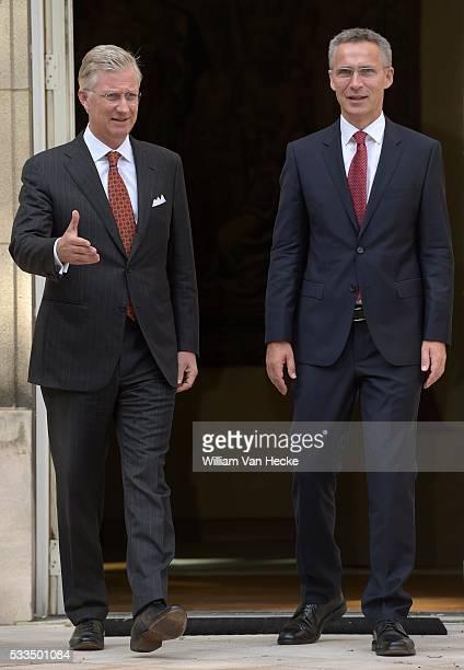Le Roi Philippe reçoit Jens Stoltenberg nouveau Secrétairegénéral de lOTAN au Palais de Bruxelles Koning Filip ontvangt de nieuwe Secretarisgeneraal...