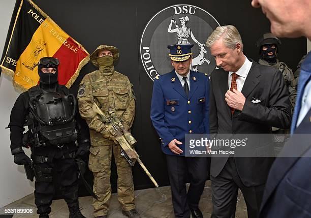 Le Roi Philippe visite la Police fédérale dans le Complexe de Witte de Haelen à Etterbeek Il y assiste à une réunion de travail sur les missions de...