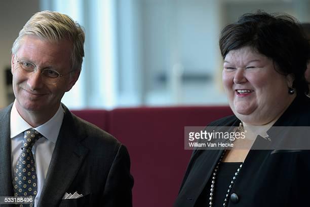 Le Roi Philippe visite le Service Public Fédéral Sécurité Sociale Bezoek van Koning Filip aan de Federale Overheidsdienst Sociale Zekerheid * Maggie...