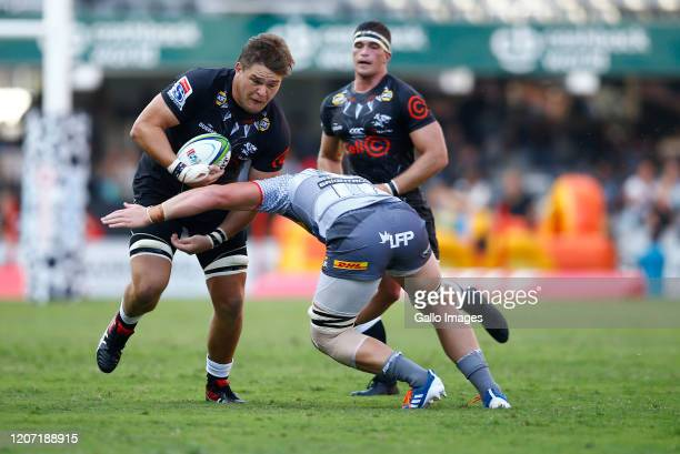 Le Roux Roets of the Cell C Sharks during the Super Rugby match between Cell C Sharks and DHL Stormers at Jonsson Kings Park on March 14, 2020 in...