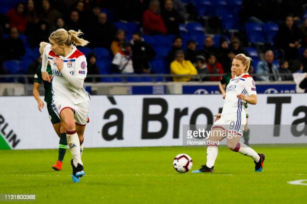 Le Sommer Eugenie of Lyon and Hegerberg Ada of Lyon during the Women's Champions League match between Lyon and Wolfsburg on March 20 2019 in Lyon...