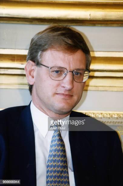 Le suédois Carl Bildt Haut Représentant international en Bosnie Herzègovine reçu à l'Elysée 11 juin 1997 Paris France