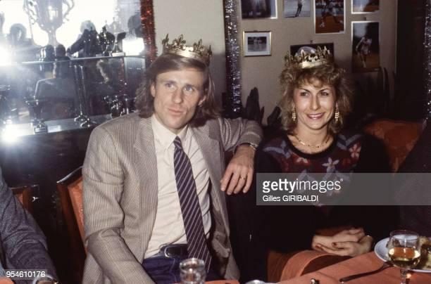 Le tennisman Bjorn Borg et son épouse Mariana Simionescu lors de la fête des Rois le 6 janvier à Monaco