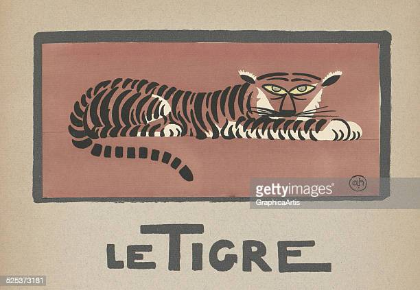 Le Tigre' vintage illustration for a children's book of a tiger lithograph by Andre Helle 1912