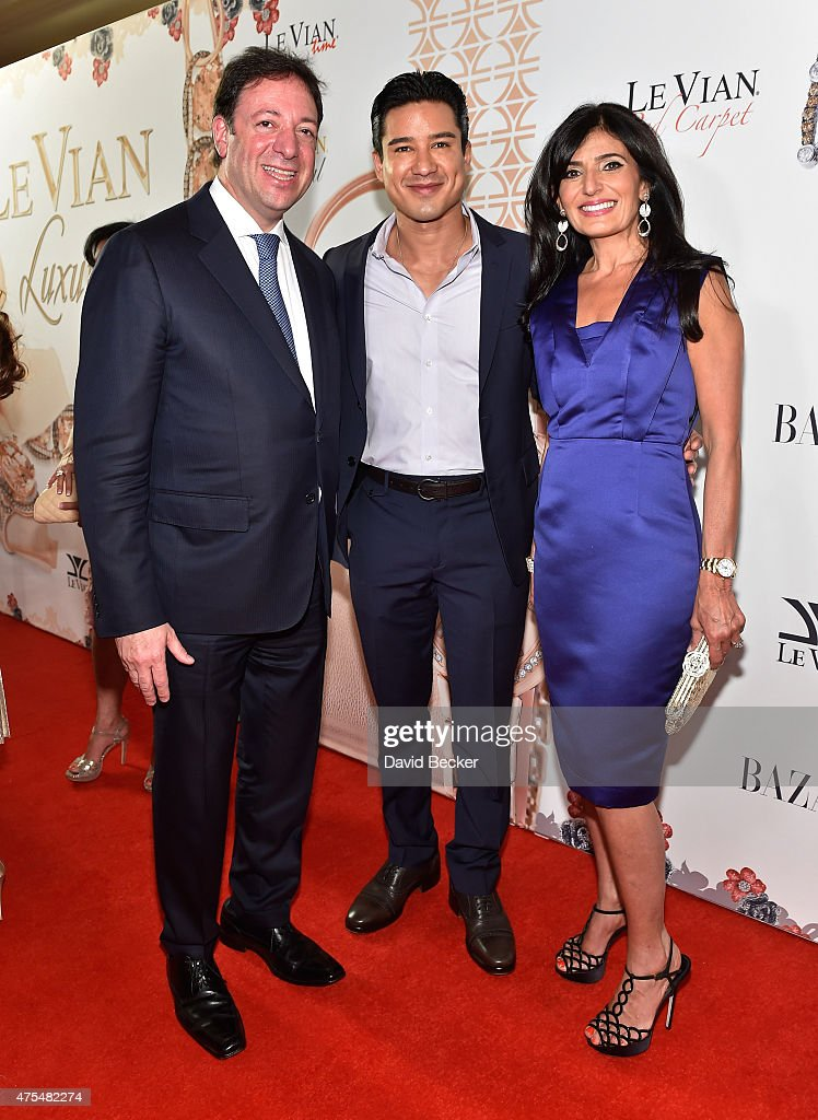 Le Vian CEO Eddie LeVian, television personality Mario Lopez and Miranda LeVian arrive at the Le Vian 2016 Red Carpet Revue at the Mandalay Bay Convention Center on May 31, 2015 in Las Vegas, Nevada.