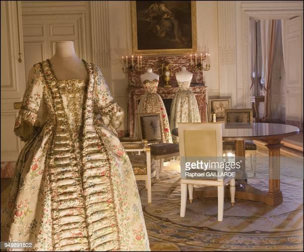 Le XVIIIe au Gout du Jour, Couturiers et Createurs de Mode Au Grand Trianon, in Versailles in France on July 7, 2011-Pictured : Pierre Balmain ,Robe...