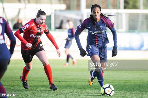 Lea Abadou of Guingamp and Marie Antoinette Katoto of PSG during the Womens Division 1 match between Paris Saint Germain PSG and Guingamp on February...
