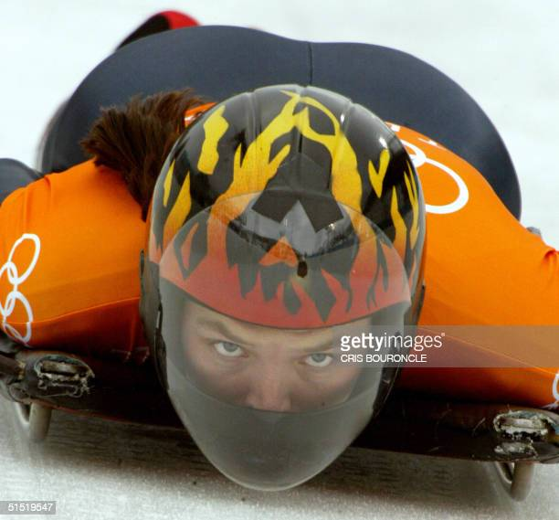 Lea Ann Parsley speeds through the ice channel during a women's skeleton training during the Salt Lake 2002 Olympic Winter Games at the Utah Olympic...