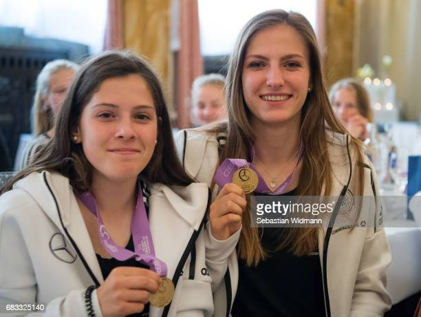 Lea Bahnemann and Melissa Koessler pose for a picture with their medals during the reception at Le Meridien Grand Hotel on May 15 2017 in Nuremberg...