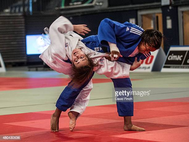 Lea Buet of Senegal spins out of a throw by Nekoda Smythe Davis during the u57kg final which Smythe Davis eventualy won at the 2015 London European...