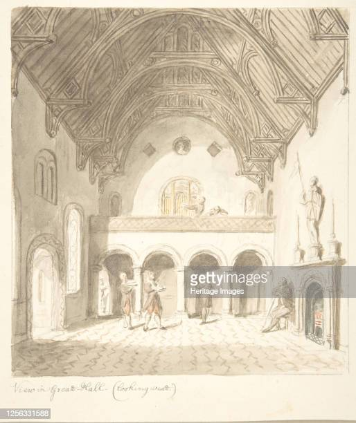 Lea Castle, Worcestershire, View in the Great Hall, Looking West, circa 1816. Attributed to John Carter.