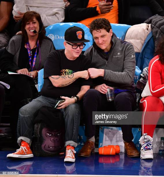 Lea Delaria and guest attend the New York Knicks Vs Dallas Mavericks game at Madison Square Garden on March 13 2018 in New York City