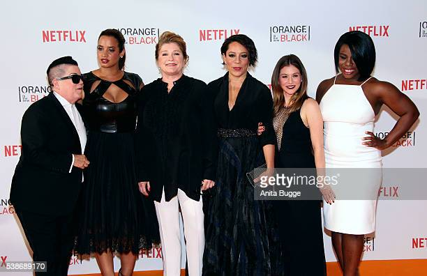 Lea DeLaria Dascha Polanco Kate Mulgrew Selenis Levya Yael Stone and Uzo Aduba attend the 'Orange Is the New Black' Europe Premiere at Kino in der...