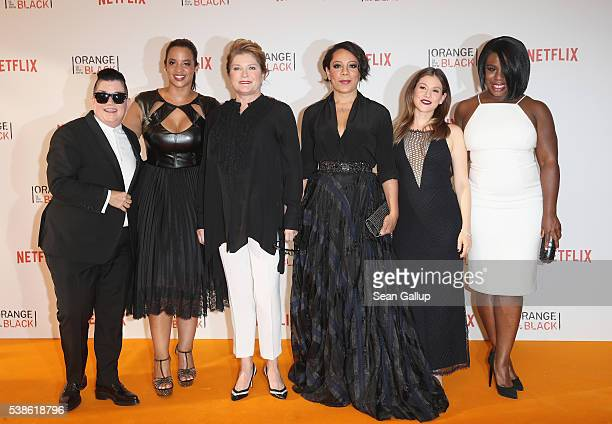 Lea DeLaria Dascha Polanco Kate Mulgrew Selenis Leyva Yael Stone and Uzo Aduba attend the European premiere of the fourth season of 'Orange Is The...