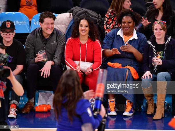 Lea Delaria guest Dasha Polanco Adrienne C Moore and Emma Myles attend the New York Knicks Vs Dallas Mavericks game at Madison Square Garden on March...
