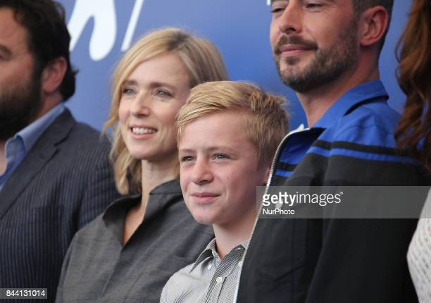 Lea Drucker and Thomas Gioria attends the photocall of the movie 'Jusqu' la Garde' presented in competition at the 74th Venice Film Festival