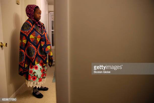 Lea explores the bathroom at their new home in Lowell Mass on Feb 03 2017 Members of the International Institute of New England Lowell greeted the...