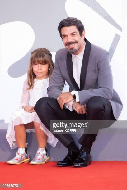 "Lea Favino and Pierfrancesco Favino walks the red carpet ahead of the movie ""Padrenostro"" at the 77th Venice Film Festival at on September 04, 2020..."