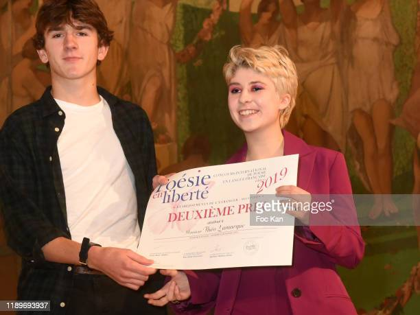 Lea Furic awards a Poesie En Liberté competitor during Poesie En Liberté 2019 Awards Ceremony At Mairie Du 5eme on November 23 2019 in Paris France