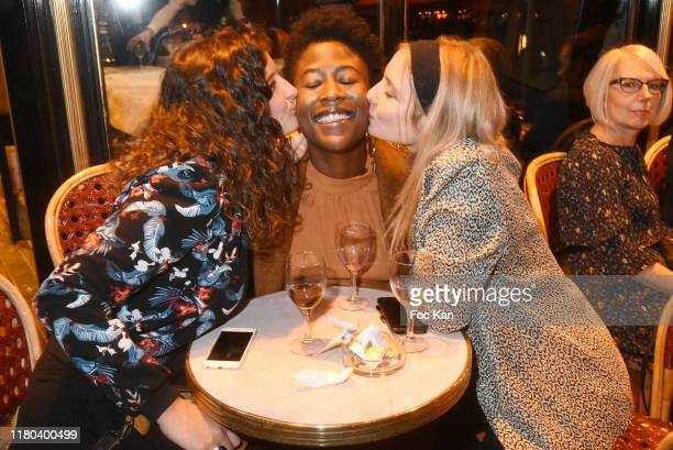 """Lea Gilet-Lorand, Jessy Ugolin and Lula Cotton attend the """"Prix Double Dôme 2019"""" music/litterature and Art Award at Brasserie Le Dôme on October 10,..."""