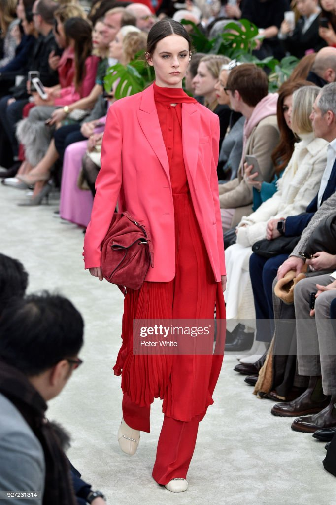 Lea Holzfuss walks the runway during the Valentino show as part of the Paris Fashion Week Womenswear Fall/Winter 2018/2019 on March 4, 2018 in Paris, France.