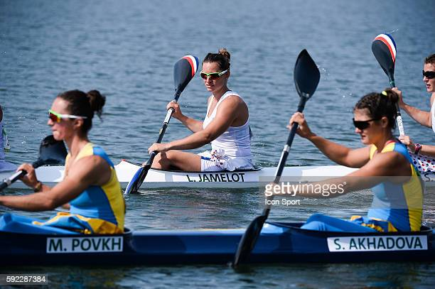 Lea Jamelot of France competes in the Women's Kayak Four 500m Finals B on Day 15 of the Rio 2016 Olympic Games at the Lagoa Stadium on August 20 2016...