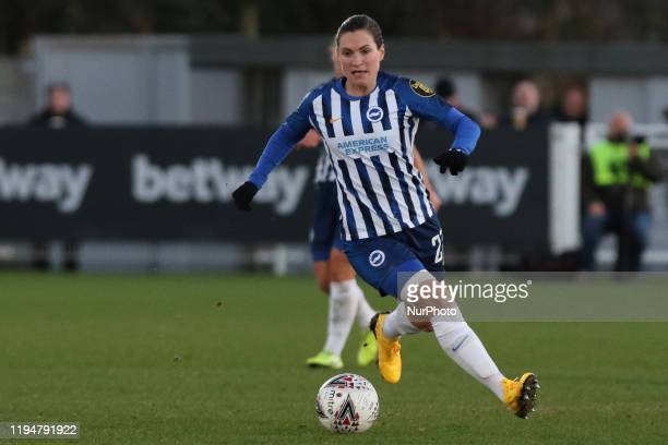 Lea Le Garrec of Brighton and Hove Albion Women in action during the Barclays FA Women's Super League match between West Ham United and Brighton and...