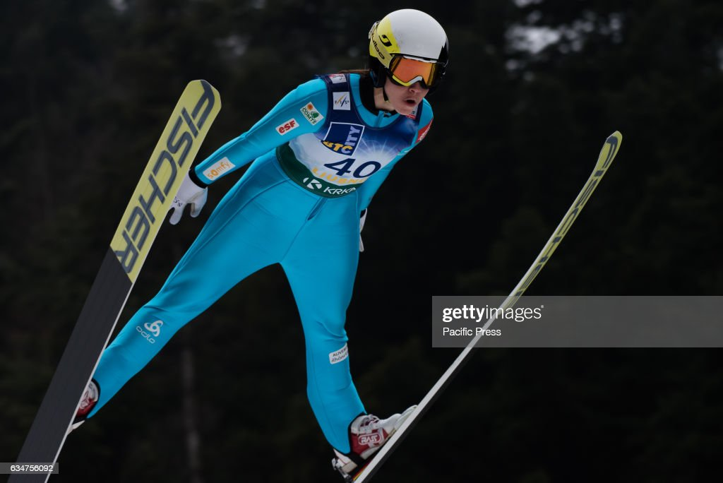 Lea Lemare of France competes during Ljubno FIS Ski Jumping... : News Photo