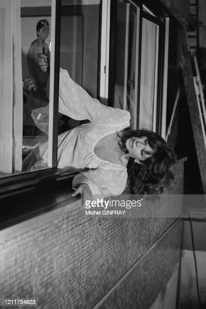 Lea Massari lors du tournage du film 'Peur sur la Ville' réalisé par Henri Verneuil à Paris le 5 décembre 1974 France