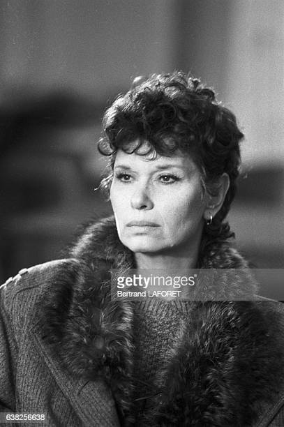 Lea Massari sur le tournage du film 'Sarah' réalisé par Maurice Dugowson à Paris France le 29 novembre 1982
